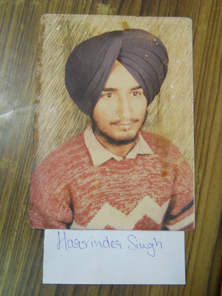 Photo of Harvinder Singh, victim of extrajudicial execution on April 26, 1991, in Jandiala, by Central Reserve Police Force