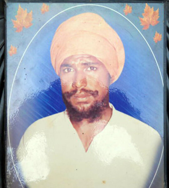 Photo of Satnam Singh, victim of extrajudicial execution between August 27, 1990 and August 29,  1991, in Chheharta Sahib,  by Punjab Police; Central Reserve Police Force, in Chheharta Sahib, by Punjab Police