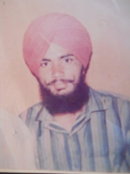 Photo of Satnam Singh, victim of extrajudicial execution on November 12, 1990, in Jhabal Kalan, by Punjab Police