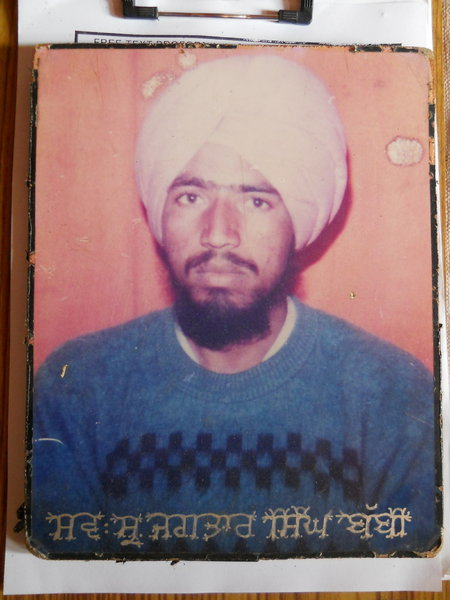 Photo of Jagtar Singh, victim of extrajudicial execution on February 21, 1991, in Kathu Nangal, by Punjab Police