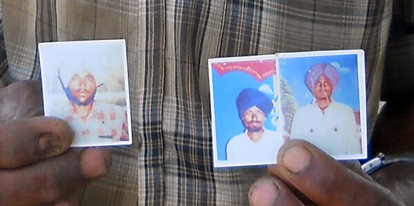 Photo of Salwinder Singh, victim of extrajudicial execution between January 1, 1991 and January 3,  1992, in Bhikhiwind, by Punjab Police; Central Reserve Police Force