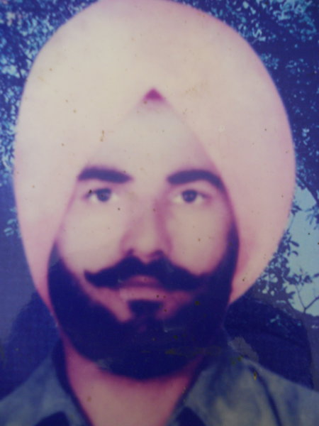 Photo of Sulakhan Singh, victim of extrajudicial execution between February 1, 1987 and March 1,  1987, in Gharinda, Ajnala, Lopoke, by Punjab Police; Central Reserve Police Force
