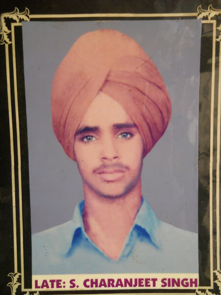 Photo of Charanjeet Singh, victim of extrajudicial execution, date unknown, in Jandiala, by Punjab Police