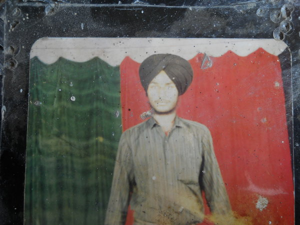 Photo of Kulwinder Singh, victim of extrajudicial execution, date unknown, in Bhikhiwind, Khalra, Kacha Pakka, by Punjab Police