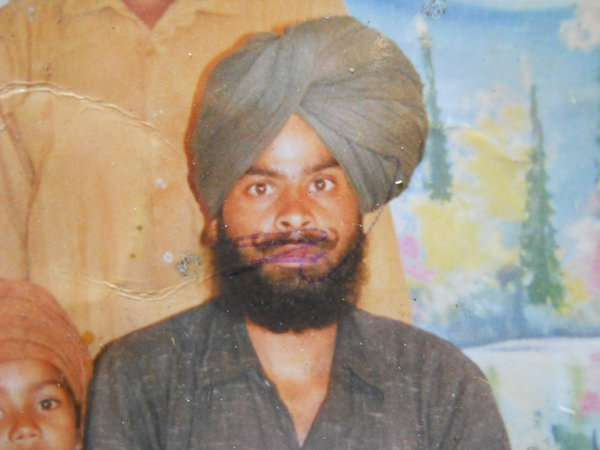 Photo of Karz Singh, victim of extrajudicial execution on September 19, 1991, in Valtoha, by Punjab Police