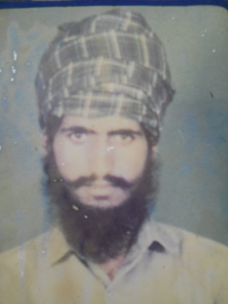 Photo of Sham Singh, victim of extrajudicial execution between November 1, 1991 and December 31,  1991 by Punjab Police; Central Reserve Police Force, in Kacha Pakka, by Punjab Police