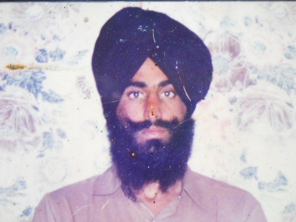 Photo of Raj Singh, victim of extrajudicial execution on October 24, 1992, in Bhikhiwind, by Punjab Police