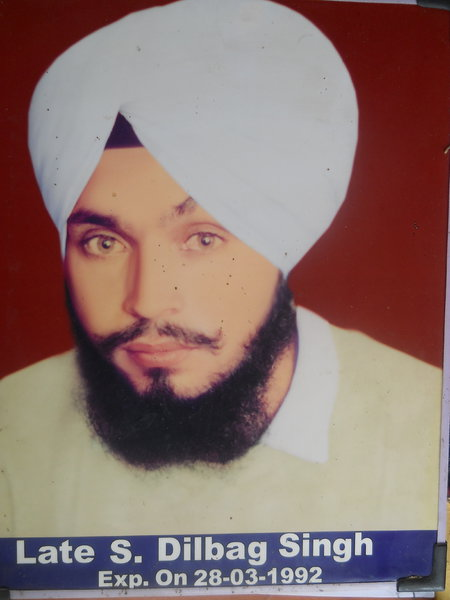 Photo of Dilbagh Singh, victim of extrajudicial execution between March 28, 1992 and April 28,  1992, in Beas,  by Punjab Police; Central Reserve Police Force, in Beas, by Punjab Police