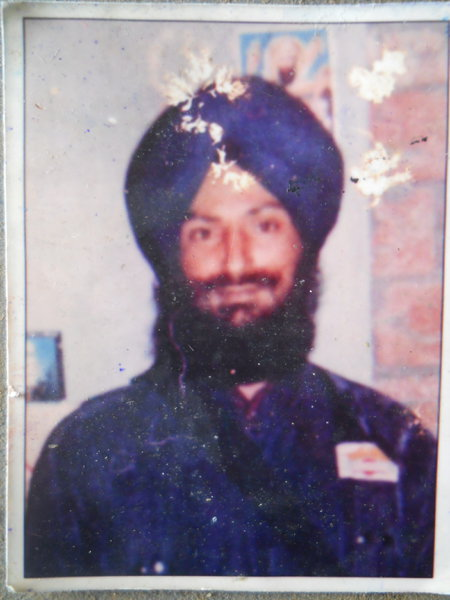 Photo of Satnam Singh, victim of extrajudicial execution between March 15, 1991 and April 15,  1991, in Majitha, Kathu Nangal, by Punjab Police