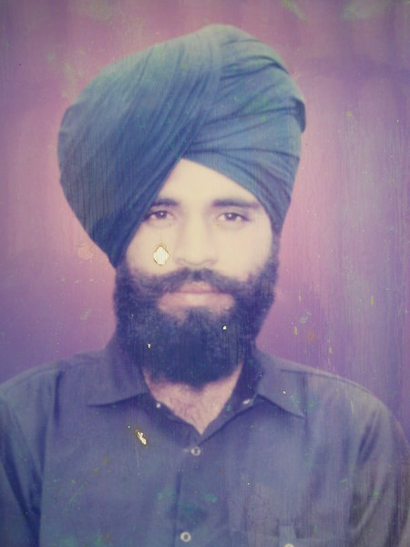 Photo of Laabh Singh, victim of extrajudicial execution on July 17, 1990, in Valtoha, by Punjab Police; Central Reserve Police Force