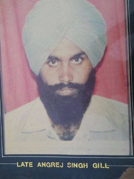 Photo of Angrej Singh, victim of extrajudicial execution between July 12, 1990 and July 30,  1990, in Valtoha,  by Punjab Police; Central Reserve Police Force, in Valtoha, by Punjab Police