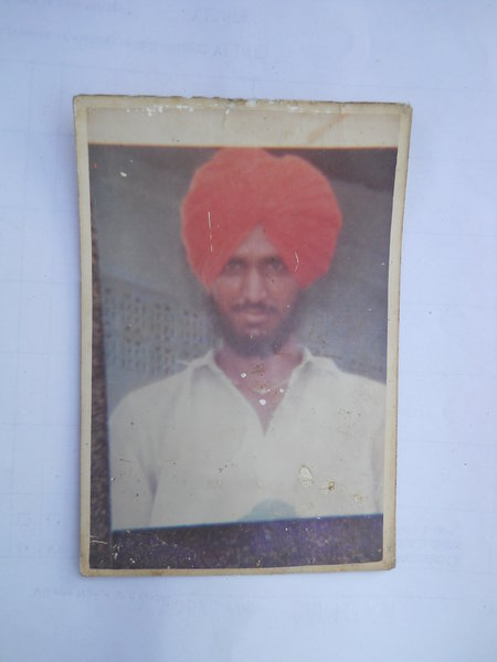 Photo of Gurmej Singh, victim of extrajudicial execution on January 23, 1991, in Patti,  by Punjab Police; Central Reserve Police Force, in Valtoha, by Punjab Police