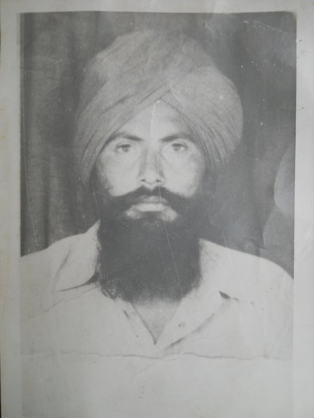 Photo of Balbir Singh, victim of extrajudicial execution on September 16, 1991, in Patti, by Black cat
