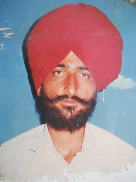 Photo of Darshan Singh, victim of extrajudicial execution, date unknown, in Bhikhiwind, by Punjab Police