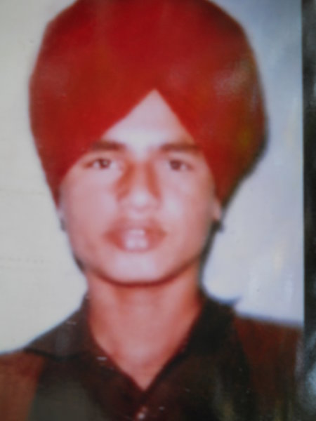 Photo of Sarwan Singh, victim of extrajudicial execution on August 10, 1989, in Valtoha, by Punjab Police