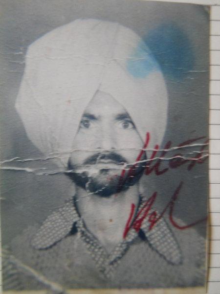 Photo of Gurnam Singh, victim of extrajudicial execution on October 15, 1993, in Jhabal Kalan, by Punjab Police