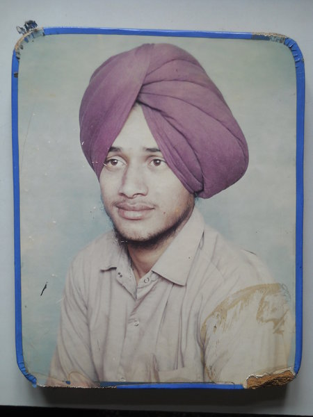 Photo of Dawinder Singh, victim of extrajudicial execution on August 16, 1989, in Ajnala, Amritsar,  by Punjab Police; Central Reserve Police Force, in Ajnala, Amritsar, by Punjab Police