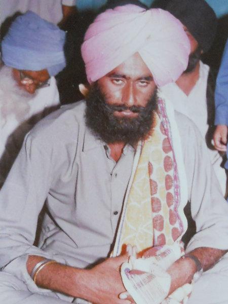 Photo of Gurmej Singh, victim of extrajudicial execution on December 26, 1991, in Amritsar B.R. Model School Interrogation Center, by Punjab Police