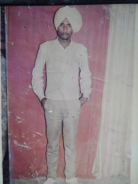 Photo of Mukhtiar Singh, victim of extrajudicial execution on February 22, 1991, in Jhabal Kalan, by Punjab Police