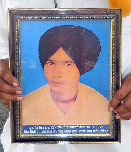 Photo of Gurmeet Singh, victim of extrajudicial execution between November 30, 1992 and December 10,  1992, in Sarai Amanat Khan,  by Punjab Police; Central Reserve Police ForcePunjab Police