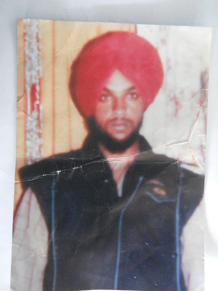 Photo of Sukhpal Singh, victim of extrajudicial execution between September 10, 1991 and September 11,  1991, in Bhikhiwind, by Punjab Police; Central Reserve Police Force