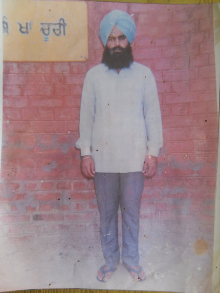 Photo of Gurdas Singh, victim of extrajudicial execution, date unknown, in Raman, by Punjab Police