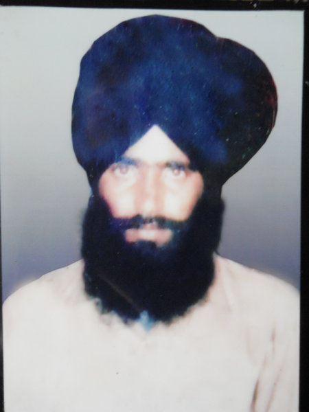 Photo of Surinder Singh, victim of extrajudicial execution on March 20, 1989, in Sur Singh, Bhikhiwind, by Punjab Police; Central Reserve Police Force