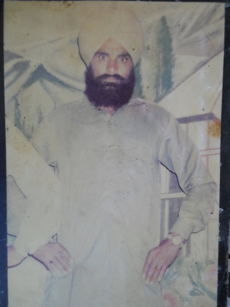 Photo of Pargat Singh, victim of extrajudicial execution on October 10, 1989, in Valtoha, Bhikhiwind, by Punjab Police; Central Reserve Police Force