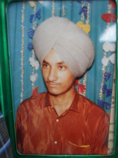Photo of Palwinder Singh, victim of extrajudicial execution between August 7, 1989 and August 18,  1989, in Tarn Taran, Bhikhiwind, by Punjab Police