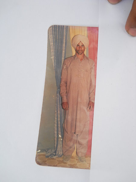 Photo of Swaran Singh, victim of extrajudicial execution between January 13, 1991 and February 14,  1991, in Jhabal Kalan, by Punjab Police
