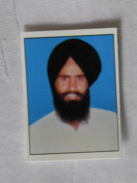 Photo of Inderjeet Singh, victim of extrajudicial execution on September 26, 1991, in Chheharta Sahib, by Punjab Police