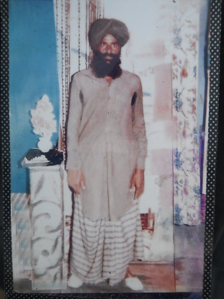 Photo of Gurmeet Singh, victim of extrajudicial execution on June 4, 1989, in Bhikhiwind, by Punjab Police
