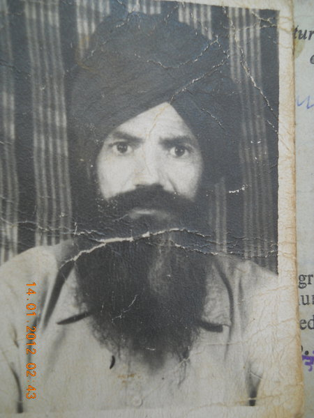 Photo of Major Singh, victim of extrajudicial execution on July 28, 1992, in Fatehgarh Panjtur, by Punjab Police