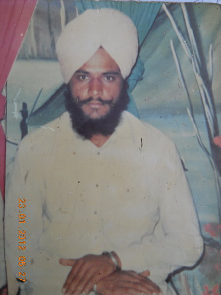Photo of Kehar Singh, victim of extrajudicial execution between October 15, 1991 and November 15,  1991, in Moga, by Punjab Police