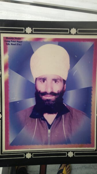 Photo of Jagtar Singh, victim of extrajudicial execution on July 29, 1992, in Valtoha,  by Punjab Police; Central Reserve Police Force, in Valtoha, by Punjab Police; Central Reserve Police Force; Black cat