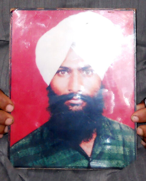 Photo of Satnam Singh, victim of extrajudicial execution between June 1, 1989 and July 31,  1989, in Kahnuwan, by Punjab Police