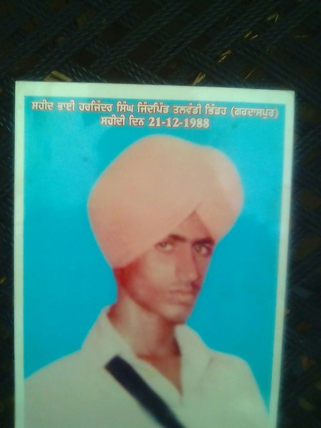 Photo of Harjinder Singh, victim of extrajudicial execution on December 21, 1988, in Ghuman Kalan, by Punjab Police