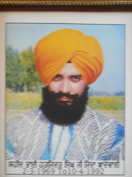 Photo of Harjinder Singh, victim of extrajudicial execution on April 10, 1992, in Batala,  by Punjab Police; Central Reserve Police Force, in Rangar Nangal, by Punjab Police