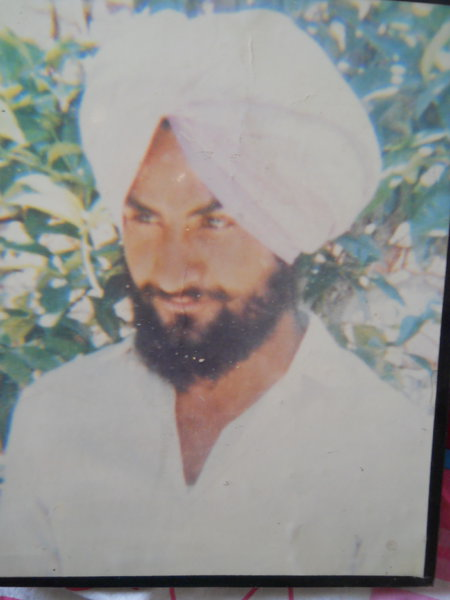 Photo of Gurdev Singh, victim of extrajudicial execution on November 12, 1989, in Panjgrain, Batala,  by Punjab Police; Border Security Force, in Batala, by Punjab Police