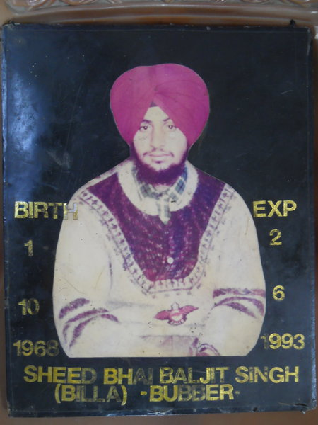 Photo of Baljit Singh, victim of extrajudicial execution on June 13, 1993, in Batala, by Punjab Police