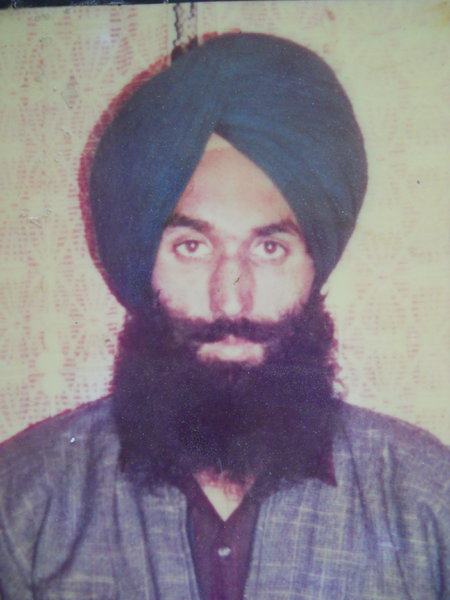 Photo of Sukhchain Singh, victim of extrajudicial execution on March 25, 1991, in Fatehgarh Churian, Batala,  by Punjab Police; Central Reserve Police Force, in Fatehgarh Churian, Batala, by Punjab Police