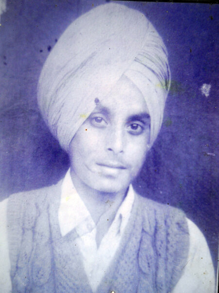 Photo of Dilbag Singh, victim of extrajudicial execution between September 15, 1988 and October 15,  1988, in Sri Hargobindpur, Udhanwal,  by Punjab Police; Border Security Force, in Sri Hargobindpur, by Punjab Police