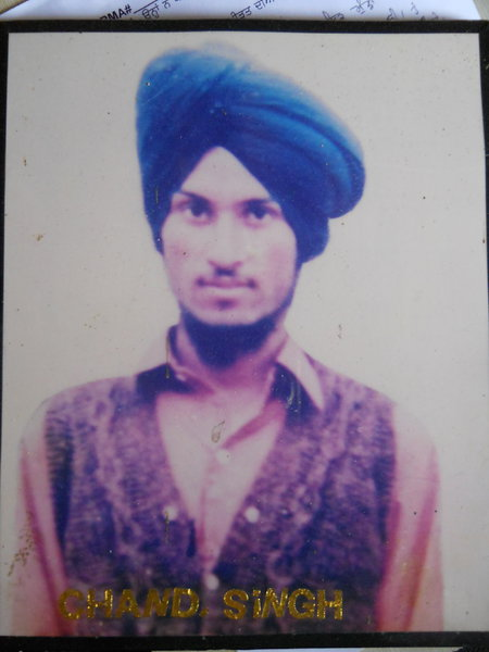 Photo of Chanan Singh, victim of extrajudicial execution on April 04, 1988, in Majitha,  by Punjab Police; Black cat, in Majitha, by Punjab Police