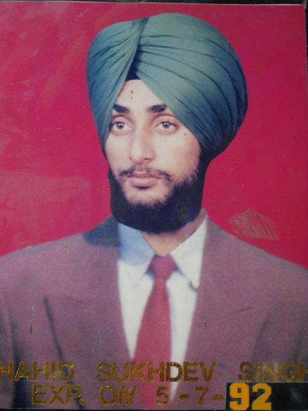 Photo of Sukhdev Singh, victim of extrajudicial execution on July 05, 1992, in Udhanwal, Sri Hargobindpur, by Punjab Police; Black cat