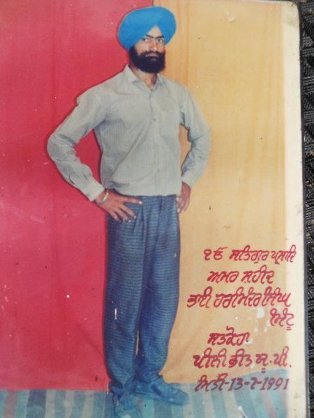 Photo of Harminder Singh, victim of extrajudicial execution on July 13, 1991, in Amaria, Bilsanda, Niuria, Pilibhit, Puranpur