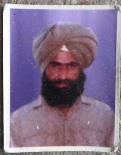 Photo of Sukhwinder Singh, victim of extrajudicial execution between March 7, 1989 and March 11,  1989, in Batala, by Punjab Police