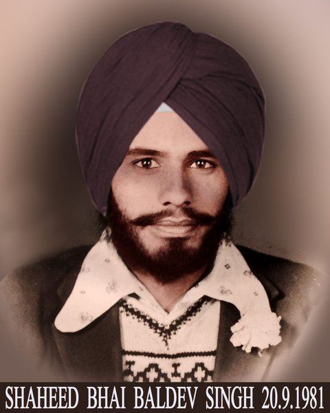 Photo of Baldev Singh, victim of extrajudicial execution on September 20, 1981, in Mehta, by Punjab Police