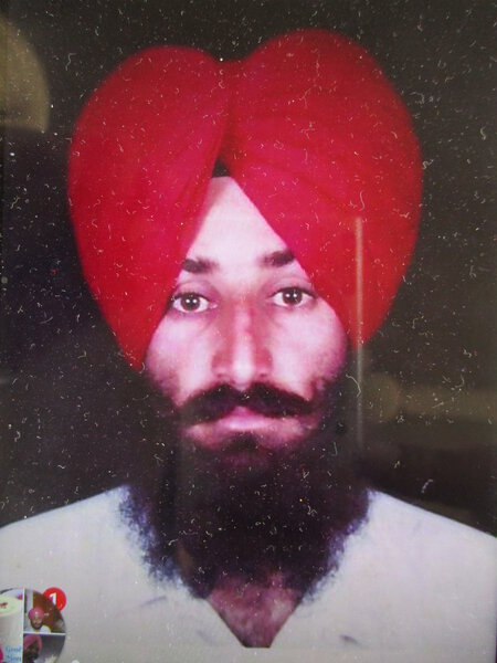 Photo of Manjinder Pal Singh, victim of extrajudicial execution on July 15, 1993, in Jagraon, by Punjab Police