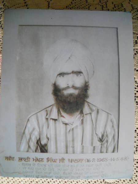 Photo of Makhan Singh, victim of extrajudicial execution on May 14, 1988, in Sultanwind, by Punjab Police