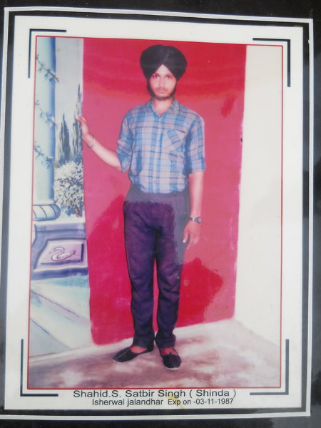 Photo of Satveer Singh, victim of extrajudicial execution between November 2, 1987 and November 3,  1987, in Adampur, Jalandhar, by Punjab Police